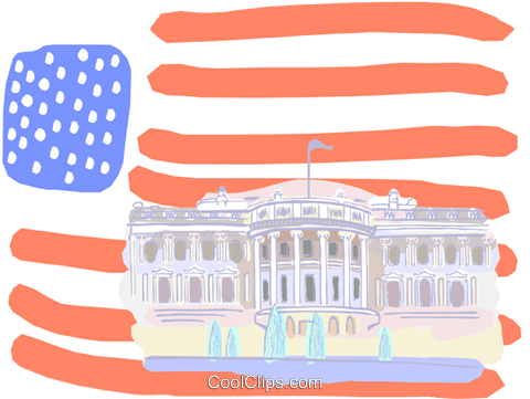 United States, White House Royalty Free Vector Clip Art illustration vc000638