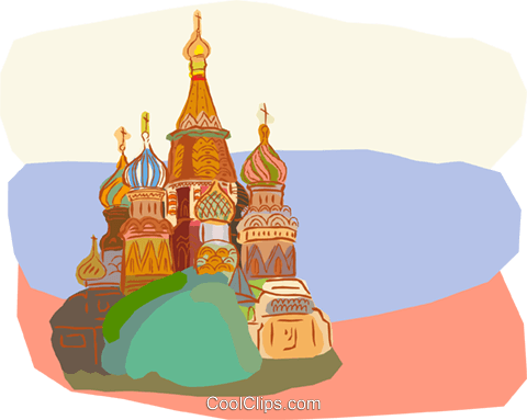 Russia, St. Basil's Cathedral's Royalty Free Vector Clip Art illustration vc000644