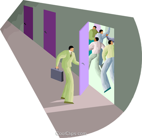 man opens a door with action inside Royalty Free Vector Clip Art illustration vc000655