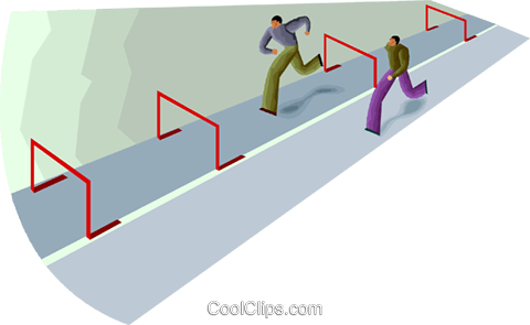 a race one man has obstacles Royalty Free Vector Clip Art illustration vc000660