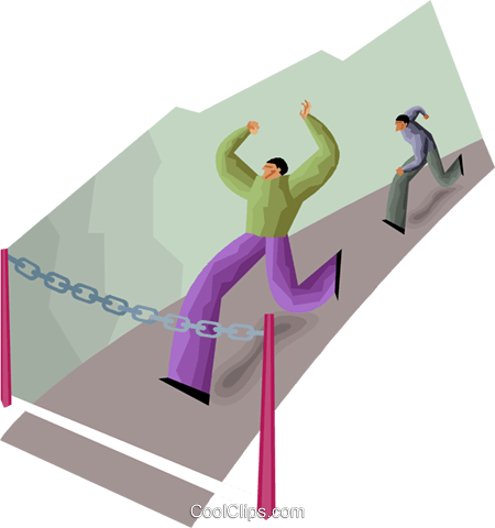 chromatic style, running into a barrier Royalty Free Vector Clip Art illustration vc000662