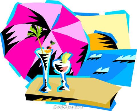 cool drinks at the beach Royalty Free Vector Clip Art illustration vc000672