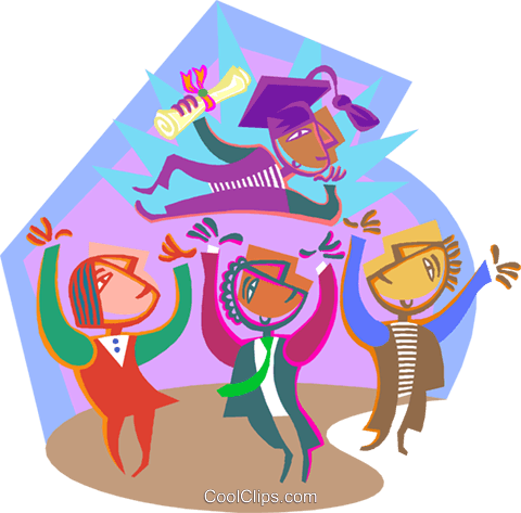 graduate celebrating with friends Royalty Free Vector Clip Art illustration vc000681