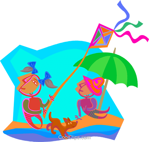 day at the beach Royalty Free Vector Clip Art illustration vc000693