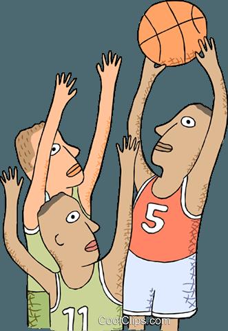 篮球运动员的镜头去 免版税矢量剪贴画插图