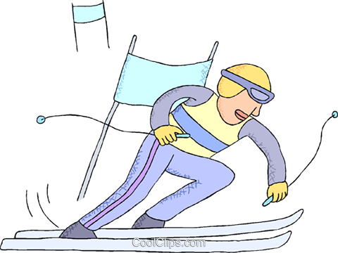 downhill skiing Royalty Free Vector Clip Art illustration vc000701