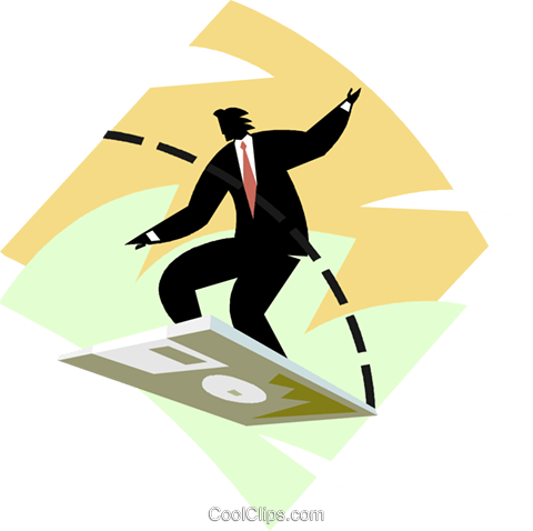 business metaphors, technology surfing Royalty Free Vector Clip Art illustration vc000718