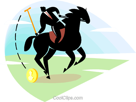 Businessman playing polo Royalty Free Vector Clip Art illustration vc000728