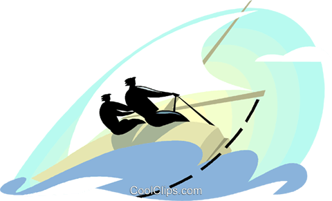 Businessmen sailing Royalty Free Vector Clip Art illustration vc000729