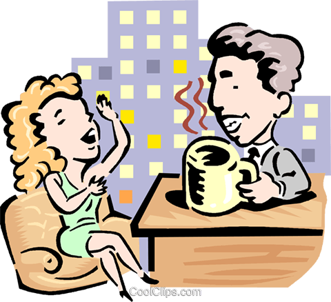 Talk show host and guest Royalty Free Vector Clip Art illustration ...