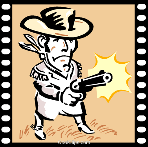 Western Movie Royalty Free Vector Clip Art illustration vc000752