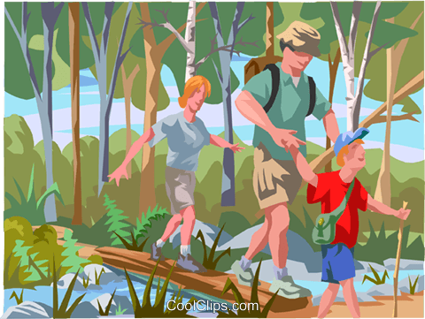 Family on hiking trip Royalty Free Vector Clip Art illustration vc000761