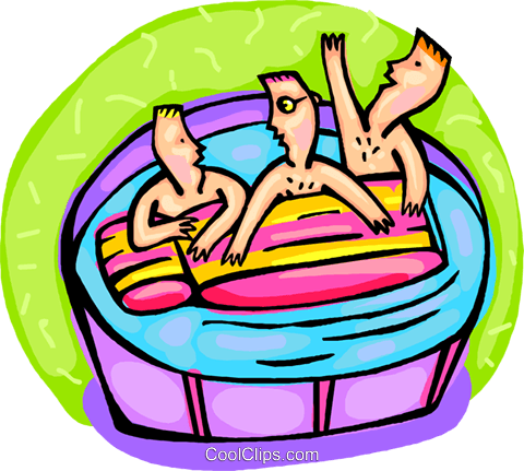 Kids playing in pool with raft Royalty Free Vector Clip Art illustration vc000789