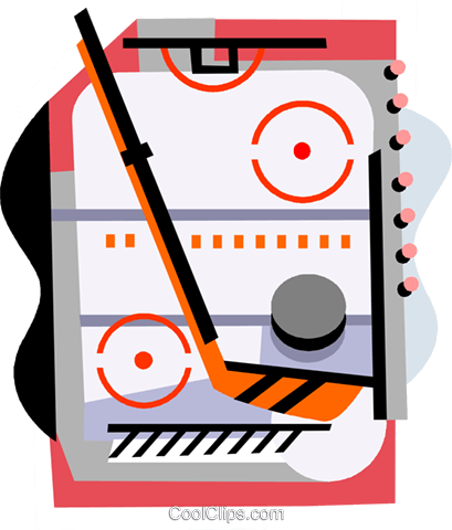 Hockey rink with stick and puck Royalty Free Vector Clip Art illustration vc000825