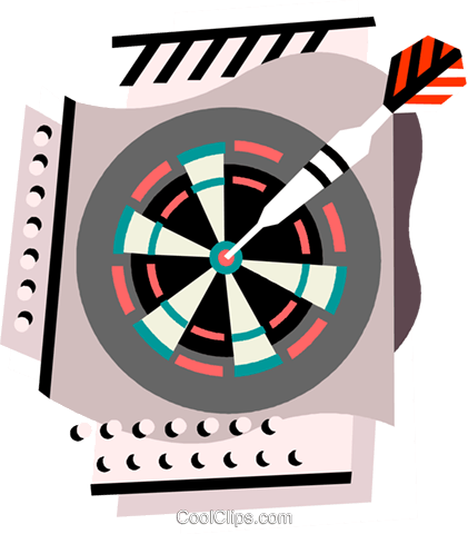 Darts in dartboard Royalty Free Vector Clip Art illustration vc000840