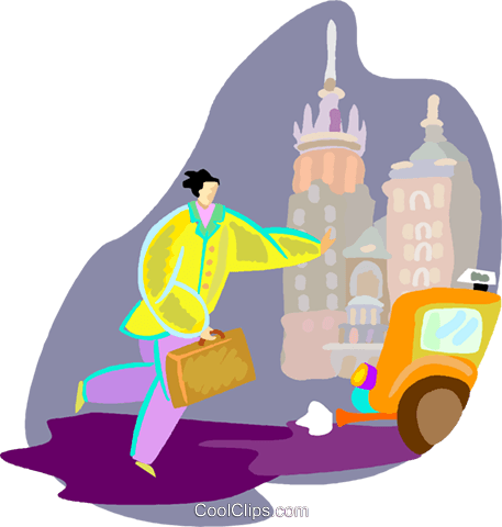 Person running for cab Royalty Free Vector Clip Art illustration vc000847