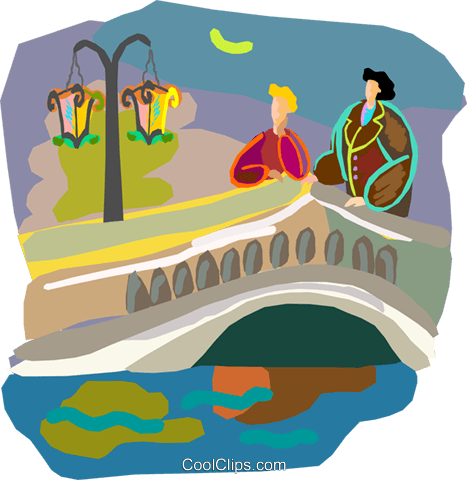 Romantic couple on bridge at night Royalty Free Vector Clip Art illustration vc000859