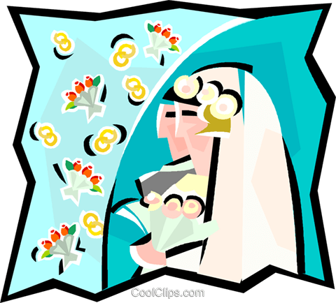 Couple getting married Royalty Free Vector Clip Art illustration vc000881