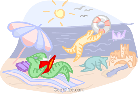 day at the beach Royalty Free Vector Clip Art illustration vc000890