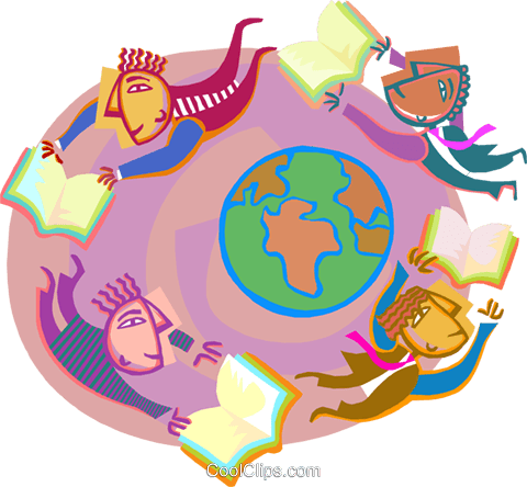 Reading around the world Royalty Free Vector Clip Art illustration vc000894