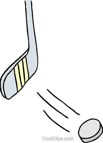 Hockey stick with puck Royalty Free Vector Clip Art illustration vc000915