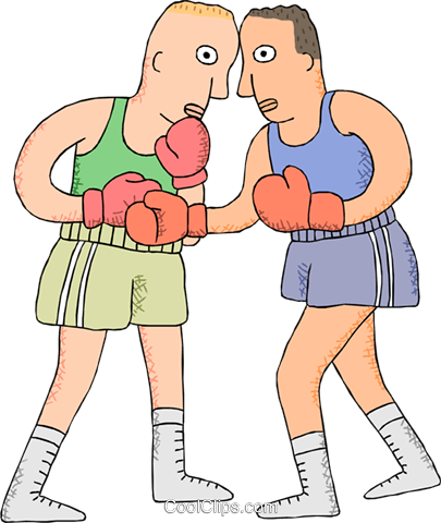 Boxers sparring Royalty Free Vector Clip Art illustration vc000917