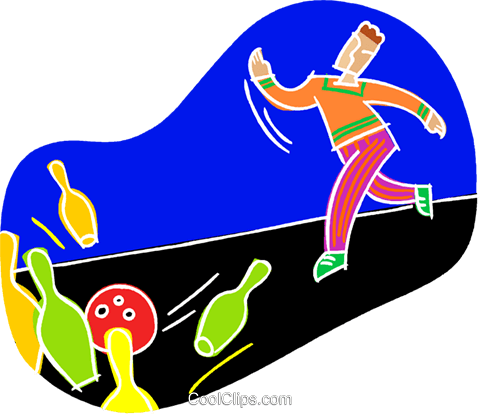 Strike in a bowling game Royalty Free Vector Clip Art illustration vc000934