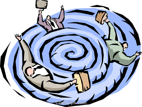 Businessmen caught in a whirlpool Royalty Free Vector Clip Art illustration vc000952