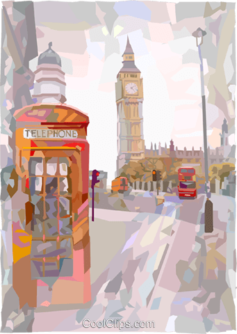 Big Ben in London Royalty Free Vector Clip Art illustration vc000965