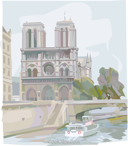 Notre Dame Cathedral Paris Royalty Free Vector Clip Art illustration vc000966