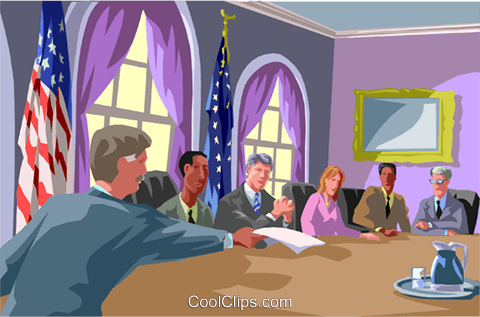 Cabinet members around a table Royalty Free Vector Clip Art illustration vc000974