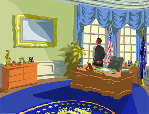 Inside the Oval office Royalty Free Vector Clip Art illustration