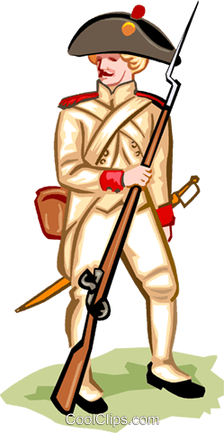 American Revolution - French Soldier Royalty Free Vector Clip Art illustration vc000981