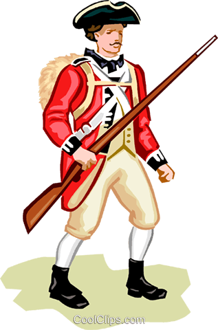 American Revolution - British Soldier Royalty Free Vector Clip Art illustration vc000983
