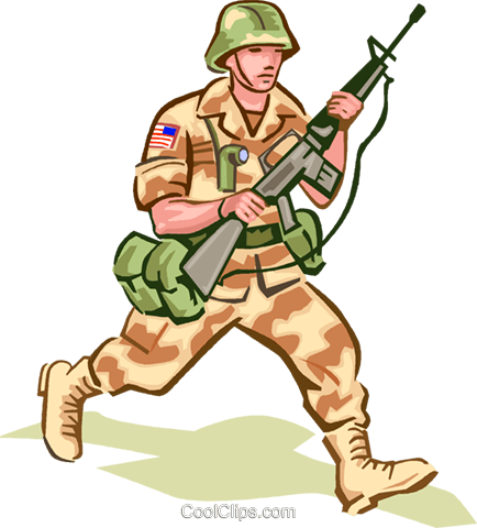 Soldier in camouflage Royalty Free Vector Clip Art illustration vc000985