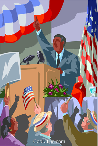 Politician giving speech Royalty Free Vector Clip Art illustration vc000994