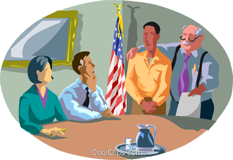 Local official argues in front of committ Royalty Free Vector Clip Art illustration vc000996