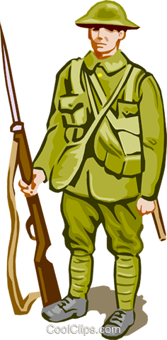Soldier with weapon Royalty Free Vector Clip Art illustration vc001000