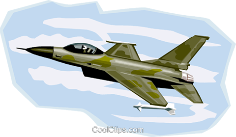 U.S. Fighter Jet, F16 Royalty Free Vector Clip Art illustration vc001001