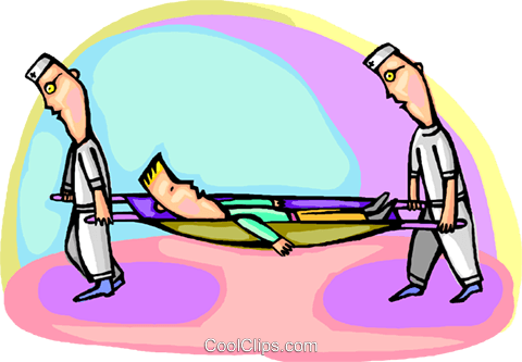 Patient being carried in stretcher Royalty Free Vector Clip Art illustration vc001021