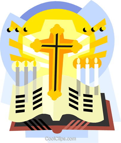 Religious items, the Cross with Bible Royalty Free Vector Clip Art illustration vc001061