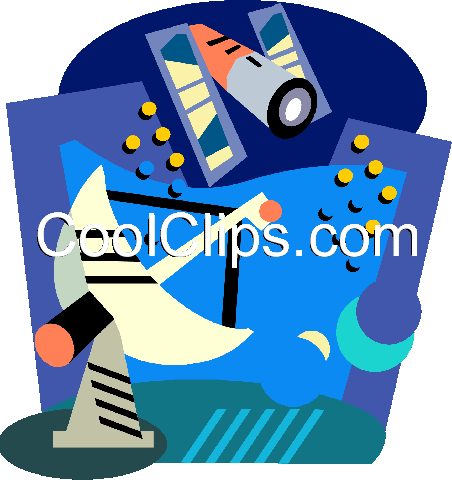 Satellite technology Royalty Free Vector Clip Art illustration vc001063