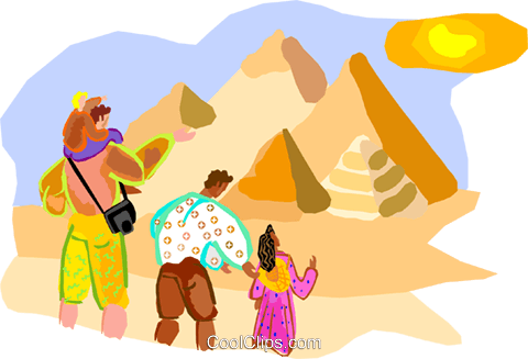 Tourists near pyramids in Egypt Royalty Free Vector Clip Art illustration vc001073