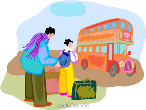 Tourists waiting for double-decker bus Royalty Free Vector Clip Art illustration vc001087