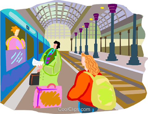 Tourists catching train Royalty Free Vector Clip Art illustration vc001091