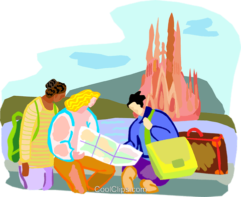 Tourists looking at map Royalty Free Vector Clip Art illustration vc001092