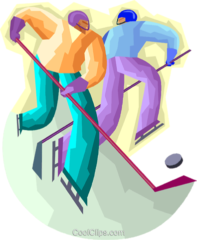 Hockey players fighting for the puck Royalty Free Vector Clip Art illustration vc001097