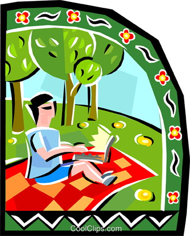 Person on a picnic with computer Royalty Free Vector Clip Art illustration vc001127