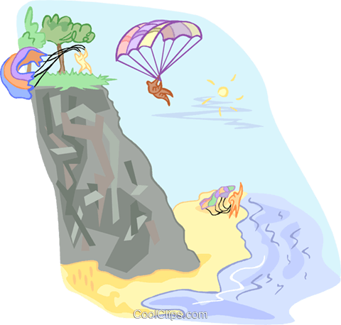 People jumping off a cliff with parachute Royalty Free Vector Clip Art illustration vc001150