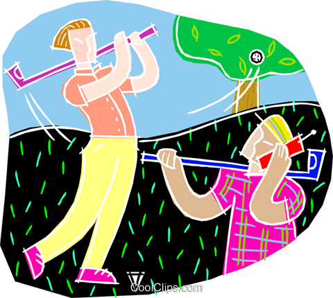 Guy on phone during golf game Royalty Free Vector Clip Art illustration vc001176